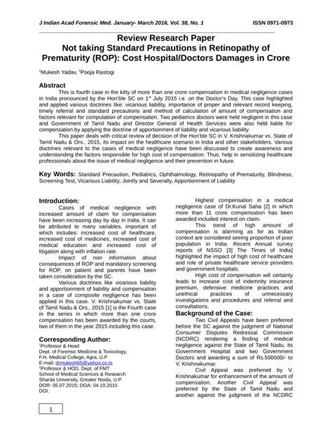 (PDF) Not taking Standard Precautions in Retinopathy of