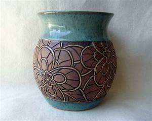 Hand Carved Pottery Vase - Mosaic Look Flower Design ...