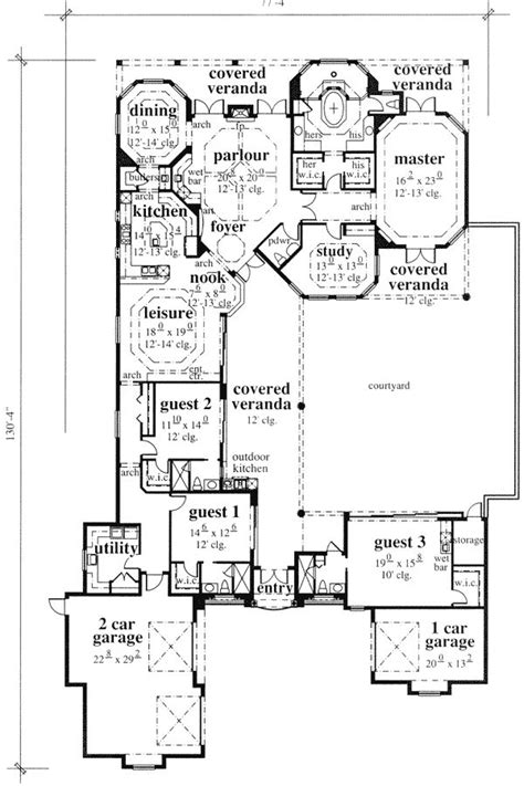 architectural room mediterranean house plans pool outstanding interior courtyard