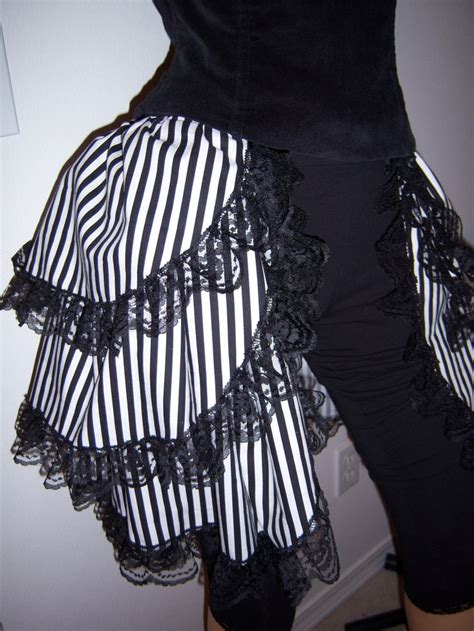 black and white striped bustle skirt cotton steunk