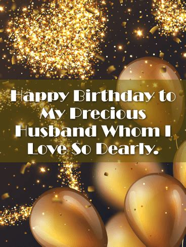 shining gold happy birthday card  husband birthday
