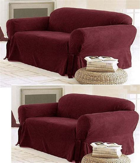 3 Loveseat Slipcover by Solid Suede Covers 3 Burgundy Slipcover Set