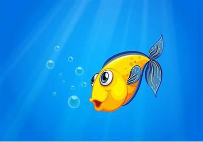 Fish Swimming Sea Under Yellow Vector Deep