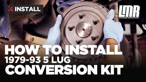 fox body mustang  lug conversion kit install  lug