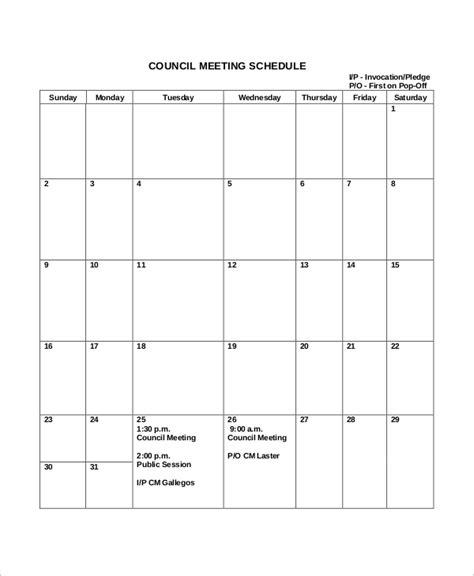 sample meeting schedules  ms word