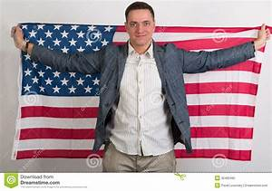 The Man In Stylish Clothing With The American Flag Stock ...