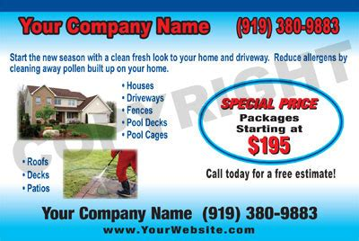 pressure washing business card templates powerwashing post cards window cleaning post cards roof