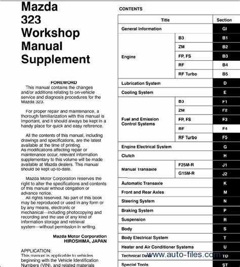 Mazda Repair Manuals Download Wiring Diagram