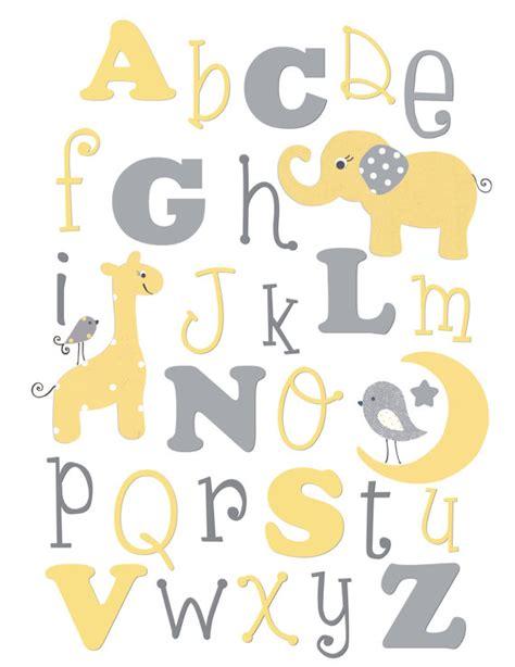 chambre b2b2 alphabet imprimer lettres murale pépinière jaune