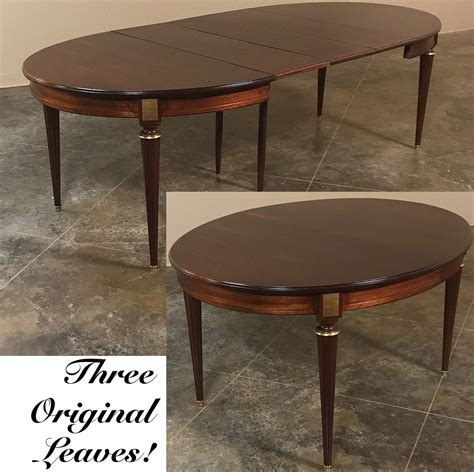 Antique French Louis Xvi Mahogany Oval Dining Table With 3
