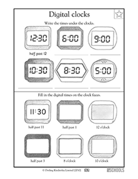 1st grade math worksheets reading digital clocks