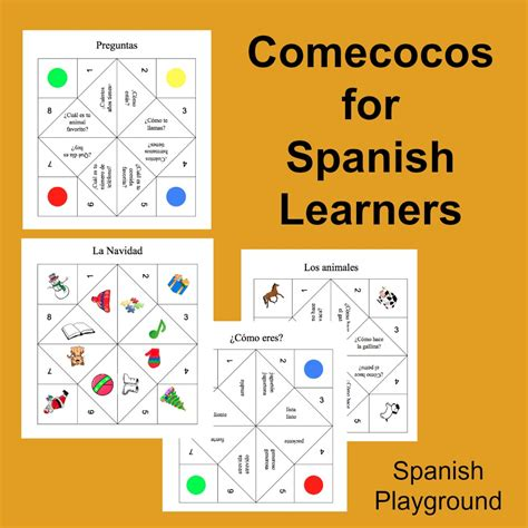 spanish game printable cootie catchers spanish playground