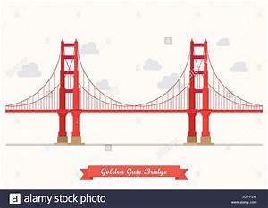 Golden Gate Bridge Illustration  Flat Style Design