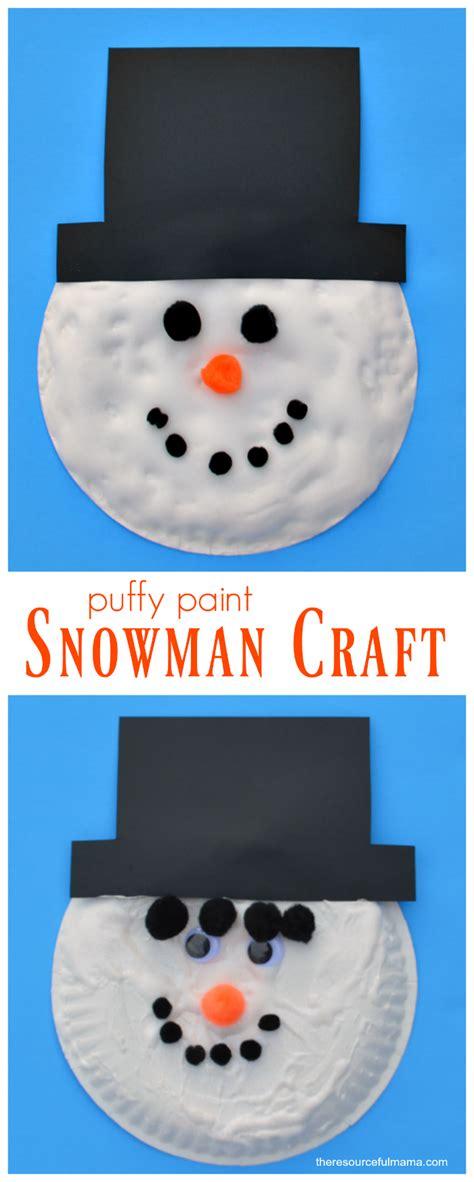 puffy paint snowman kid craft  resourceful mama
