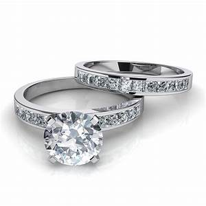 Channel set diamond engagement ring and wedding band for Solitaire engagement and wedding ring sets