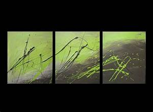 Abstract canvas painting lime green and brown modern