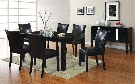 lamia  black high gloss rectangular leg dining room set