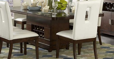 kitchen table wine storage homelegance elmhurst dining table with wine storage 1410