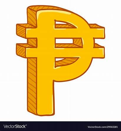 Sign Pesos Symbol Gold Philippine Currency Cartoon