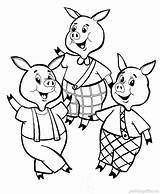 Pigs Coloring Three Pages Printable Four Duck sketch template