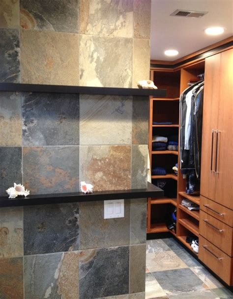 floating shelves with faux slate tile