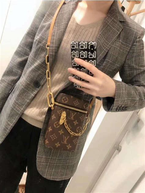 louis vuitton lv unisex phone box bag  monogram coated canvas brown lulux