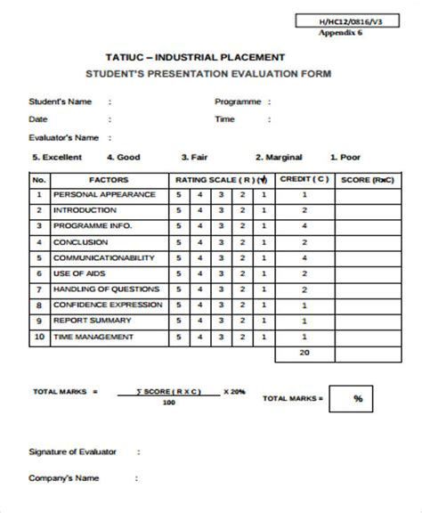 sample student evaluation forms  ms word