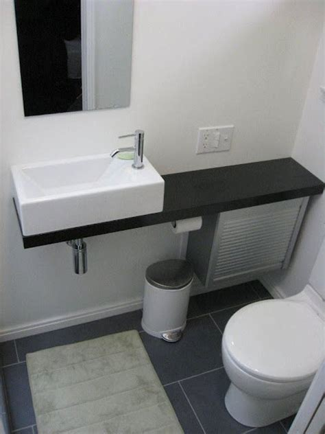small closet sinks a tiny bathroom is possible with the right fixtures turn a closet into a hall bath sink found