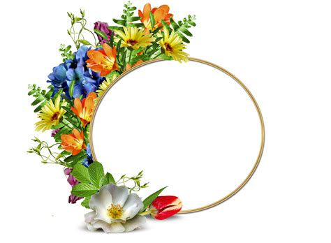 Marco redondo para fotos con tulipanes y otras flores