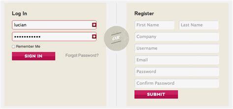 front  user registration  theme  login