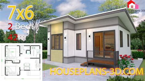 Interior Small House Design 7x6 with 2 Bedrooms Full Plans
