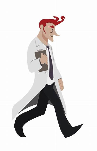 Scientist Walking Transparent Animated Animation Walk Cycle