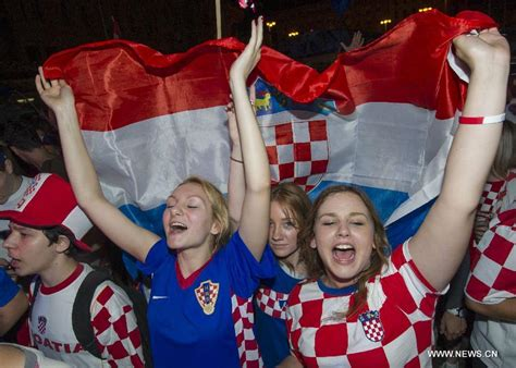 Croatian Soccer Fans Cheer Their Team During World Cup