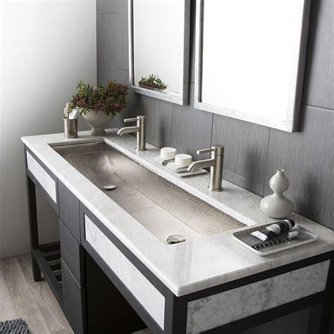 Trough 48 Double Basin Rectangular Bathroom Sink Native