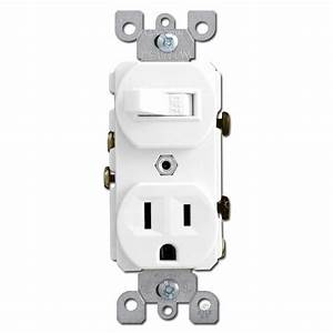 White Combo Duplex Receptacle And Toggle Switch