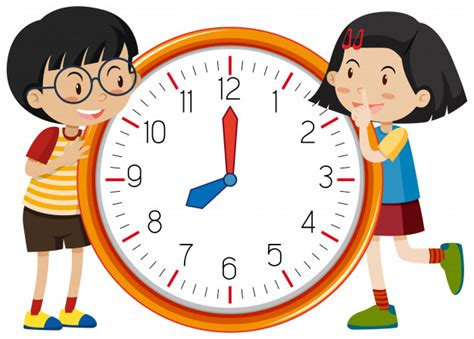 cute children clock template vector