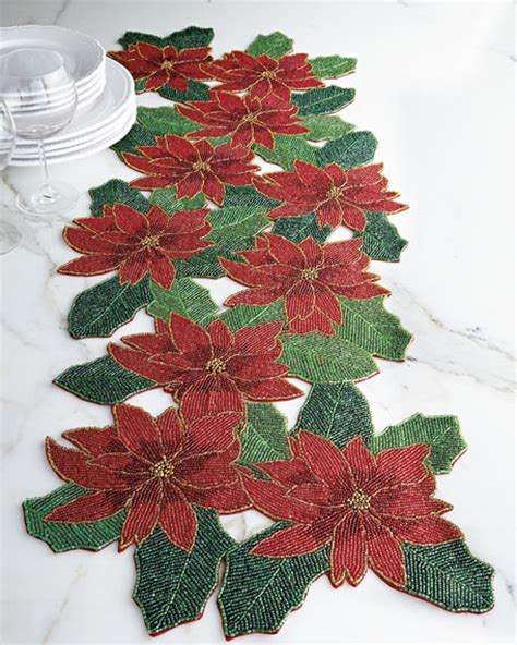 how to make a beaded table runner divine designs poinsettia beaded table runner