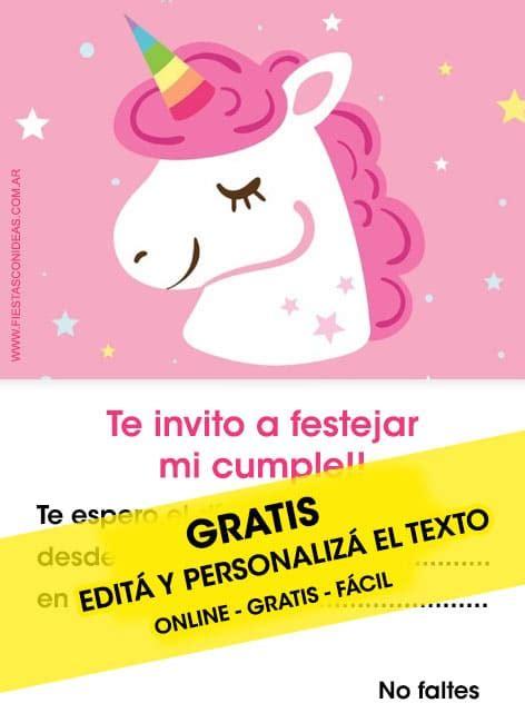 25 invitaciones de unicornios gratis para editar personalizar e imprimir fiestas infantiles
