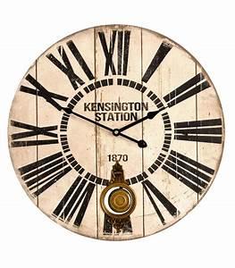 Grande Horloge Murale Originale : grande horloge murale avec balancier en bois kensington station ~ Teatrodelosmanantiales.com Idées de Décoration