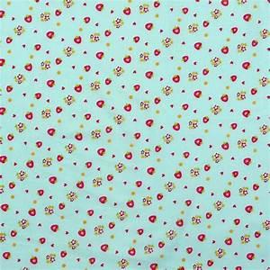 Stoff Auf Stoff Nähen : baumwolle stoff meterware erdbeeren auf blauen hintergrund ~ Lizthompson.info Haus und Dekorationen