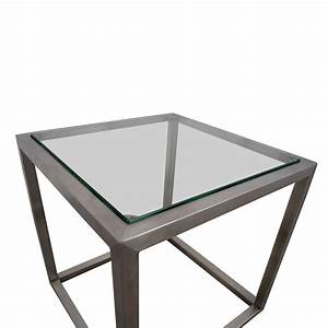 87 off ethan allen ethan allen metal and glass cube for Glass cube coffee table