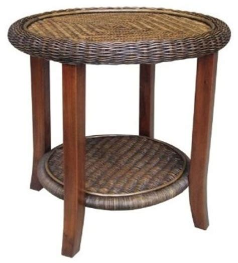 indoor wicker end tables rattan living round wicker end table modern