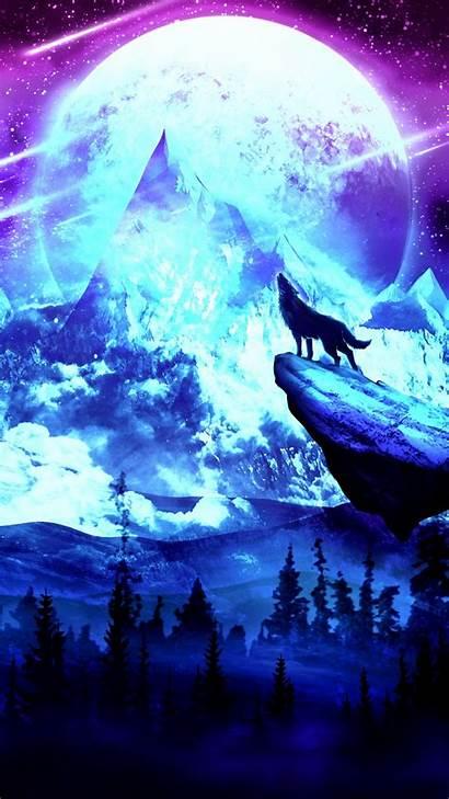 Wolf Moon Night Galaxy Background Mountains Samsung