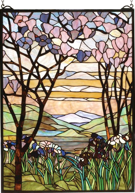 louis comfort tiffany ls tiffany magnolia and iris stained glass window tiffany