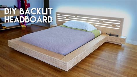 diy modern plywood platform bed part  led backlit