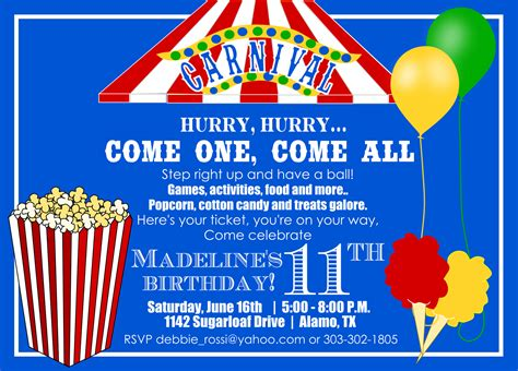 birthday ideas carnival birthday invitation template