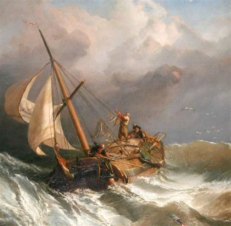 Christopher Columbus Boat Jesus by Stormy Clouds Boat As Sea Battling High Winds Painting