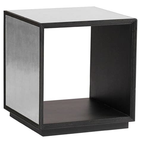 mirrored cube end table side table silver mirror accent table