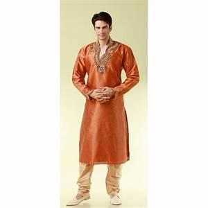 Tenue Indienne Homme : tenue indienne orange brod pour homme ~ Teatrodelosmanantiales.com Idées de Décoration