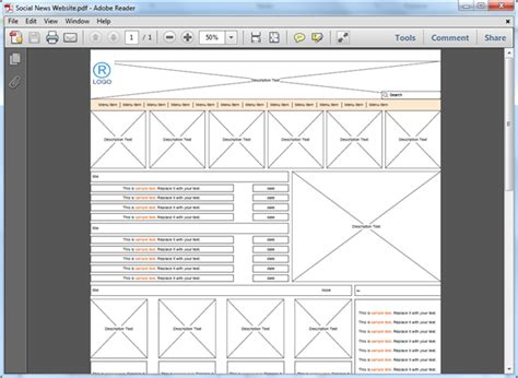 website wireframe template website wireframe templates for pdf